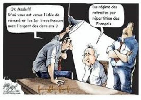 Sujet : systèmes pyramidaux. Deux hommes interrogent Bernard Madoff. Ok Madoff, d'où vous est venue l'idée de rémunérer les premiers investisseurs avec l'argent des derniers ? Du régime des retraites par répartition des Français.