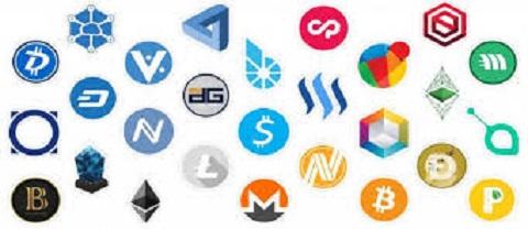 Sujet : crypto-monnaie. Image montrant une multitude de logos représentant chacun d'eux une crypto-monnaie décentralisée.