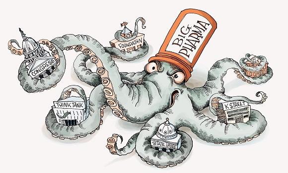L'image représente une pieuvre portant un chapeau Big Pharma. Il n'y a aucun doute, elle a clairement mis la main sur les grands médias, la presse scientifique, les autorités de santé, les responsables politiques et la formation universitaire des médecins.
