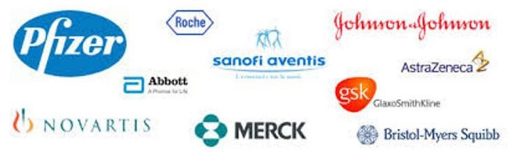 Sujet : Big Pharma. On peut voir sur l'image les logos de tous les plus grands laboratoires pharmaceutiques au monde (Pfizer, Sanofi-aventis, GSK, Novartis, etc.).