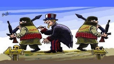 """Sujet : terrorisme. L'image montre un dirigeant américain en train d'écrire sur le dos d'un rebelle syrien le mot """"Rebel"""". À droite de l'image on a le même terroriste mais avec écrit """"terrorist"""" dans le dos."""