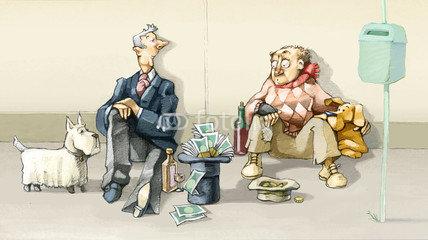 Sujet : intelligence financière. Sur l'image on voit deux hommes en train de faire la manche. L'un est en costard (son chapeau est rempli de pièces et de billets). L'autre est mal habillé (il n'a presque rien dans son chapeau).
