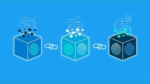 Sur l'image on voit une blockchain composée de trois blocs.