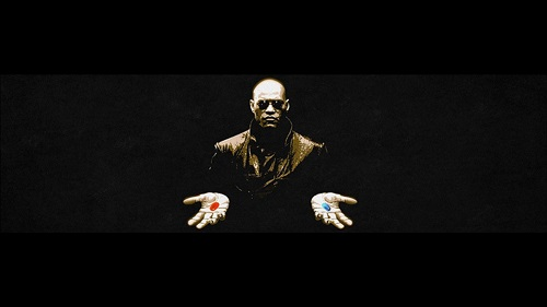 Sujet : esclavage moderne. Sur l'image on voit Morpheus du film Matrix tenant une pilule rouge dans une main et une pilule bleue dans une autre. Il te propose, en prenant la pilule rouge, de découvrir le monde réel. Autrement dit, il te propose de découvrir comment fonctionne le monde et plus particulièrement l'esclavage moderne.